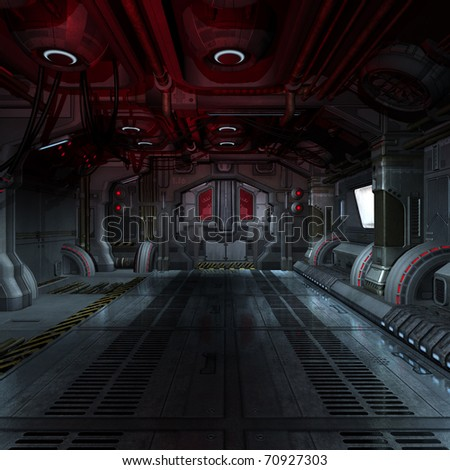 inside a futuristic scifi spaceship 3D rendering for background or composing image - stock photo