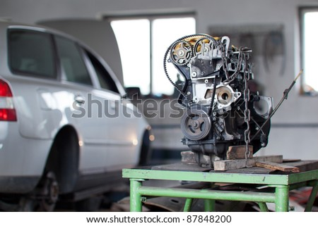 inside a garage (shallow DOF; color toned image) - stock photo