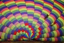 Inside a hot air balloon. Rainbow colours