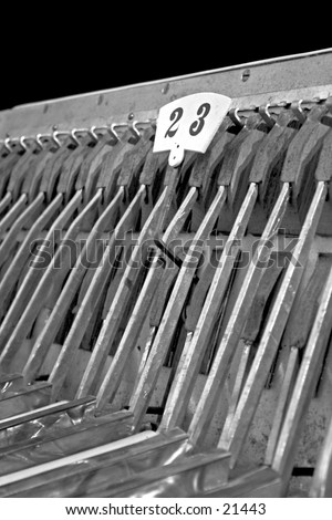 Inside a piano accordion, top area.