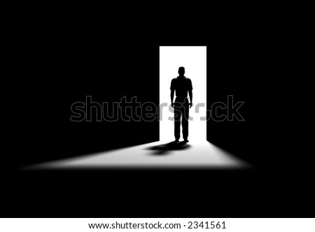 Inside a room with opened door - stock photo
