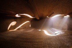Inside a violin. Text on the violin label: made by Manuel Galrinho in 1999