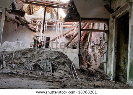 Inside abandoned house - room with broken roof. Shot in West Coast Nature Reserve, near Langebaan, Western Cape; South Africa.