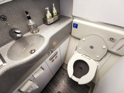 Inside Airplane lavatory .Small space  Inside the airplane toilet