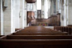 Inside an empty church in France.
