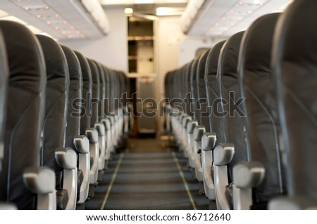 Inside an empty plane. Horizontal image - stock photo
