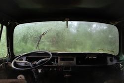 Inside an old and abandoned van