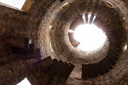 Inside an old ruined tower