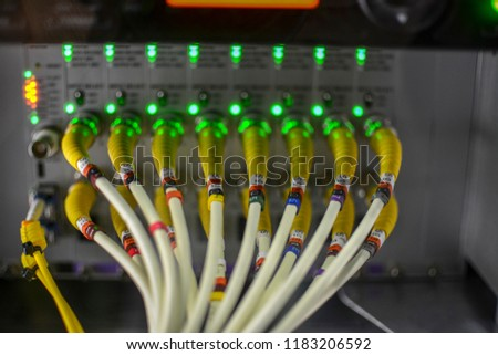 Inside an outside broadcasting truck: Coax cables on encoders #1183206592