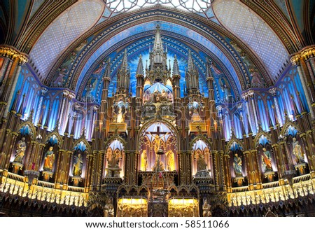 Inside Architectural  of Notre-Dame Basilic of Montreal Part# 2
