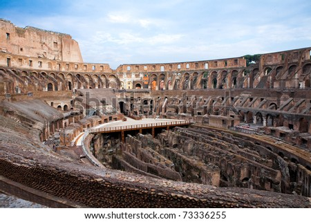 Inside arena in ancient Coliseum in Rome, Italy