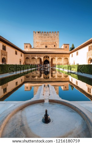 Inside arhitectural complex of Generalife gardens, Granada, Andalusia province, Spain.