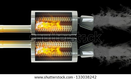 inside car exhaust pipe fire and smoke isolated on black background high resolution 3d. Black Bedroom Furniture Sets. Home Design Ideas