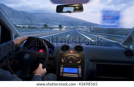 Inside car view at