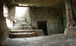 Inside Chufut-kale cave town, Crimea, Ukraine