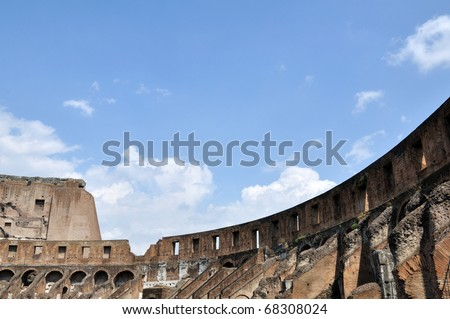 Inside Colosseo in blue sky, Rome ,Italy