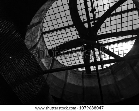 Inside Cooling Tower.Cooling tower fan motor #1079688047