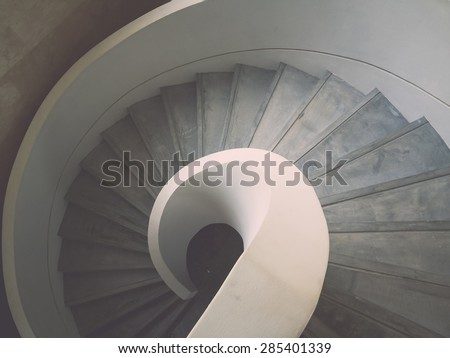 Inside design spiral staircase made of concrete