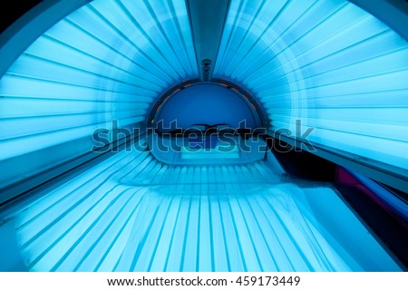 Inside empty tanning bed. #459173449