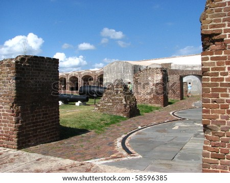 Inside Fort Sumter in Charleston, South Carolina Harbor - stock photo