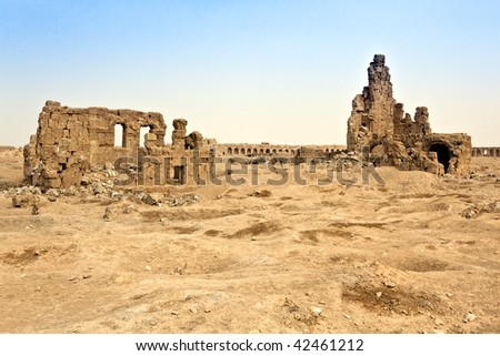 Inside fort witch Diocletian built here to defend against Persian attacks - Roman time and Byzantine after. - stock photo