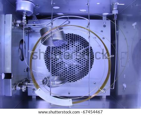 Inside Gas Chromatography Analyzer.