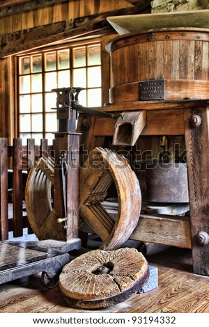 inside grist mill grinding wheel