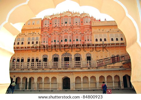 Inside Hawa Mahal in Jaipur, Rajasthan, India. Its 5-storey exterior is akin to the honeycomb of the beehive with its 953 small windows which allowed royal ladies to observe life in the streets.
