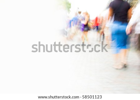 Inside hurrying crowd of people. Abstract picture with empty copyspace.