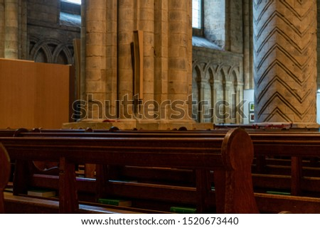 Inside interior Durham Cathedral, England. Church of Christ, Blessed Mary the Virgin and St Cuthbert's of Durham. Gothic architecture, religious spooky background. Religious architecture concept  #1520673440