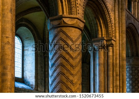 Inside interior Durham Cathedral, England. Church of Christ, Blessed Mary the Virgin and St Cuthbert's of Durham. Gothic architecture, religious spooky background. Religious architecture concept  #1520673455