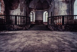 Inside Interior of an old Abandoned Church in Latvia, Galgauska - light Shining Through the Windows, Post Apocalyptic, Desaturated Vintage Look
