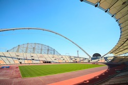 Inside Khalifa sports stadium in Doha, Qatar where the 2006 Asian games were hosted and location for the proposed 2016 Olympic Games (wide angle lens distortion on edges)