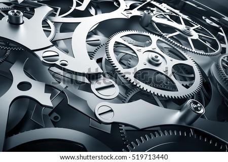 Inside mechanism, clockwork with working gears. Close-up, detailed. 3D rendering
