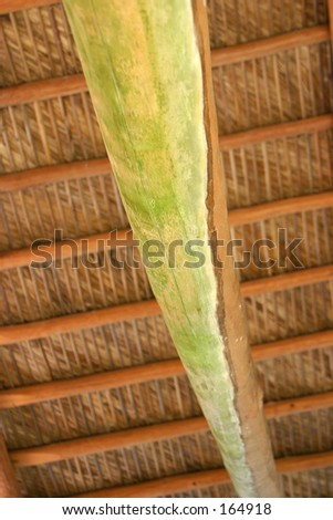 Inside of a bamboo hut