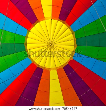 inside of a colorful hot air balloon