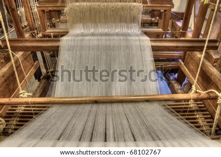 Inside of a damask weaving machine