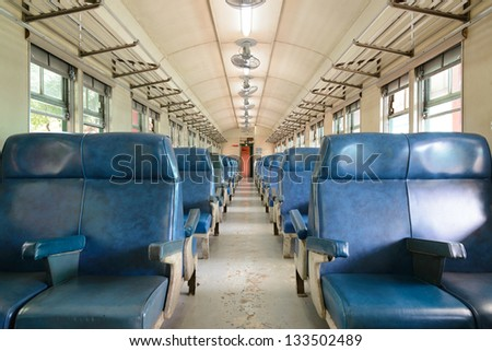 Inside Of A Last Century Old Train Passenger Carriage ...