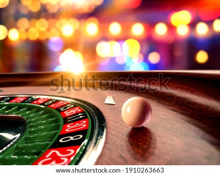 Inside of a spinning Roulette wheel close up at the Casino - Selective Focus Photo stock ©
