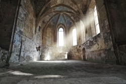 inside of an old decayed church