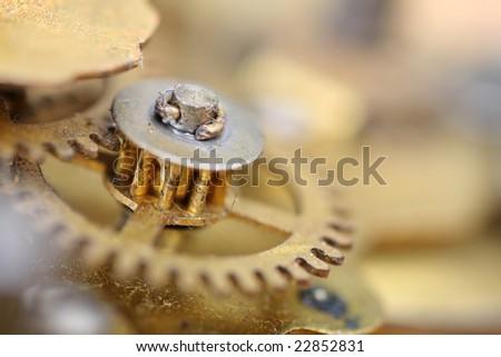 inside of an old worn clock