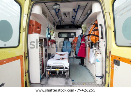 inside of an very used greek ambulance