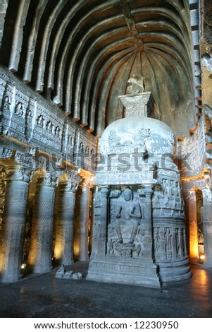 Inside of ancient Buddhist temple carved in stone. Ajanta,  Maharashtra, India