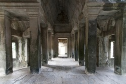 Inside of  Angkor wat temple, all stone
