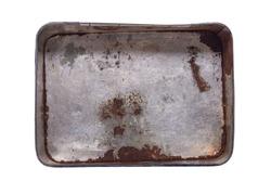 Inside of antique rustic tin metal box