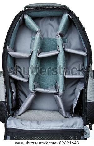 Inside of backpack camera bag