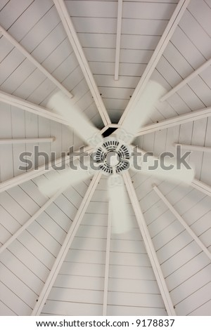 inside of gazebo room with cooling fan