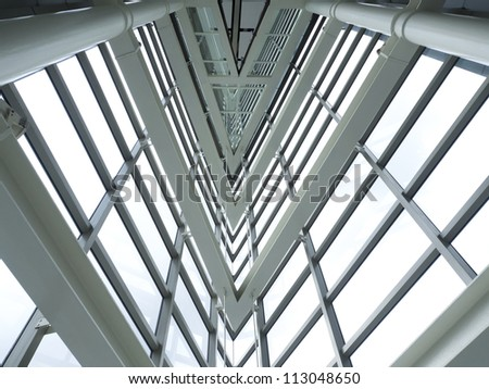 inside of glass windows pattern on modern building