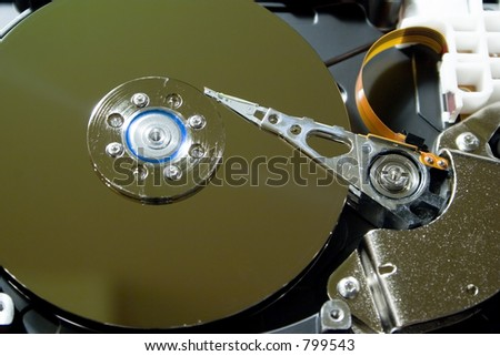 Inside of hard drive close up