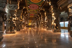 Inside of  hindu temple in Madurai, Tamil Nadu